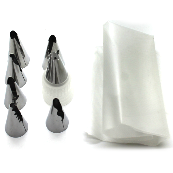 Piping Bag With 7 Nozzles And Coupler Set