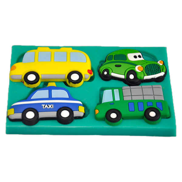 Silicone Mold Taxi, School Van, Ambulance & Car - bakeware bake house kitchenware bakers supplies baking