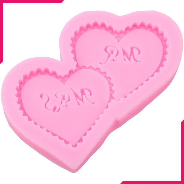 Mr & Mrs Heart Pillow Silicone Mold - bakeware bake house kitchenware bakers supplies baking
