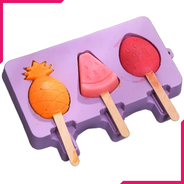 Popsicle Silicone Mold With Wooden Sticks Summer Theme - bakeware bake house kitchenware bakers supplies baking