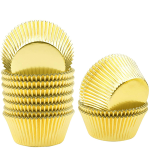 Aluminum Foil Cupcake Liner Golden 100Pcs - bakeware bake house kitchenware bakers supplies baking