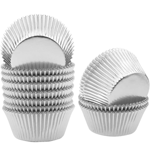 Aluminum Foil Cupcake Liner Silver 100Pcs - bakeware bake house kitchenware bakers supplies baking