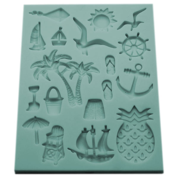 Silicone Fondant Mold Summer Beach Theme - bakeware bake house kitchenware bakers supplies baking