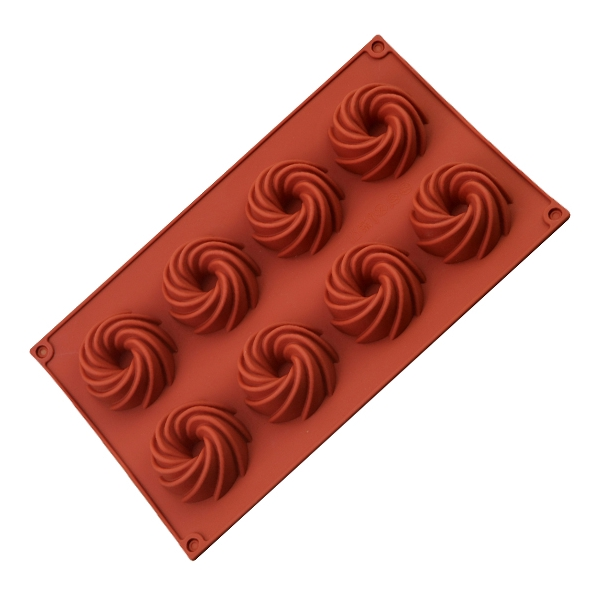 Swirl Shape Silicone Mold 8-Cavity