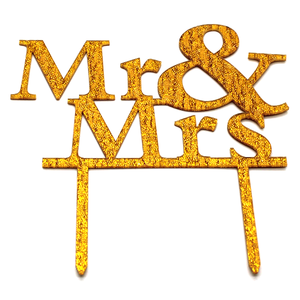 Mr And Mrs Cake Topper Golden - bakeware bake house kitchenware bakers supplies baking