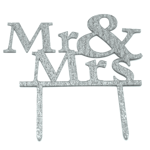 Mr And Mrs Cake Topper Silver - bakeware bake house kitchenware bakers supplies baking