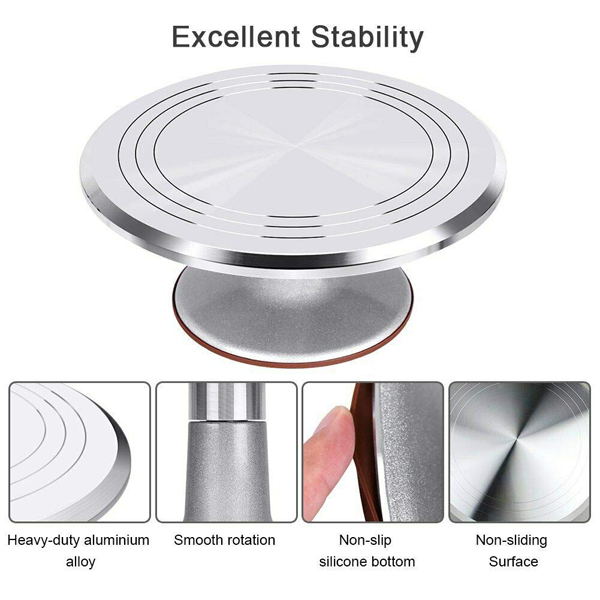 Stainless Steel Top Rotating Turntable Stand - bakeware bake house kitchenware bakers supplies baking
