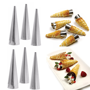 Stainless Steel Cream Roll Cones 6 Pcs - bakeware bake house kitchenware bakers supplies baking
