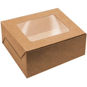 Brown Cake Box with Window - bakeware bake house kitchenware bakers supplies baking