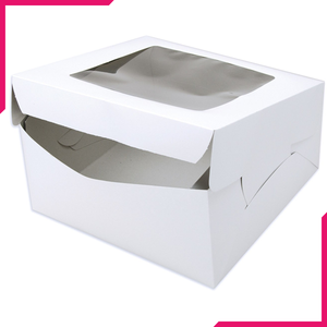 White Cake Box with Window - bakeware bake house kitchenware bakers supplies baking