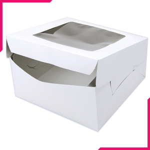 White Bakery Box With Window - bakeware bake house kitchenware bakers supplies baking