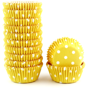 Yellow Dot Mini Cupcake Liners 200pcs