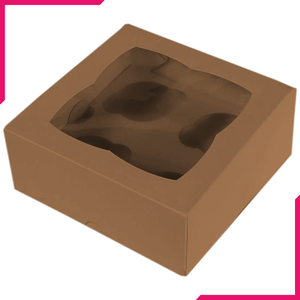 Brown Cupcake Box - 4 Cavity - bakeware bake house kitchenware bakers supplies baking