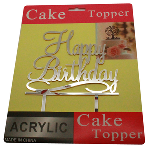 Cake Topper Happy Birthday Silver - bakeware bake house kitchenware bakers supplies baking