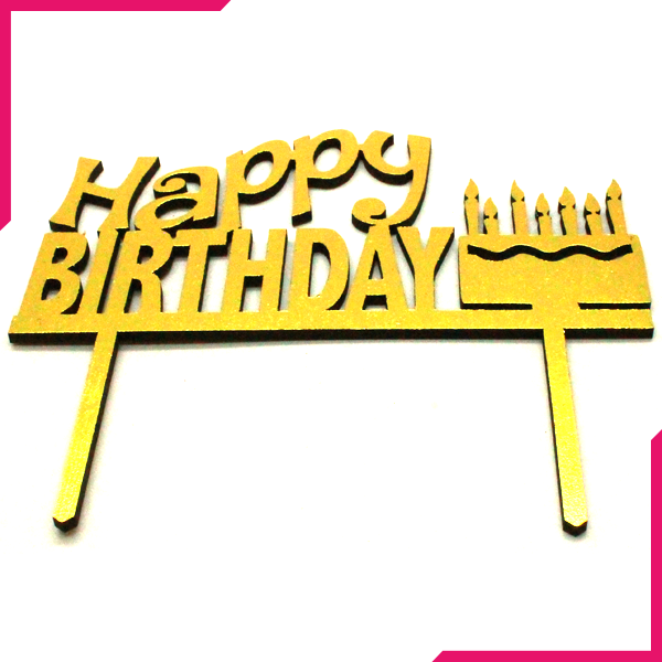 Happy Birthday Wooden Cake Topper Golden - bakeware bake house kitchenware bakers supplies baking