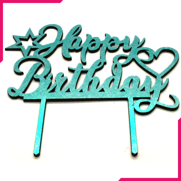 Happy Birthday Wooden Cake Topper Sky Blue - bakeware bake house kitchenware bakers supplies baking