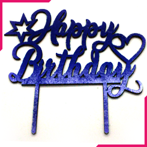 Happy Birthday Wooden Cake Topper Navy Blue - bakeware bake house kitchenware bakers supplies baking