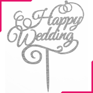 Happy Wedding Cake Topper Silver - bakeware bake house kitchenware bakers supplies baking