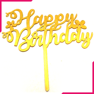 Happy Birthday Cake Topper Flowers - bakeware bake house kitchenware bakers supplies baking
