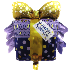 Happy Birthday Gift-Shaped Foil Balloon - bakeware bake house kitchenware bakers supplies baking