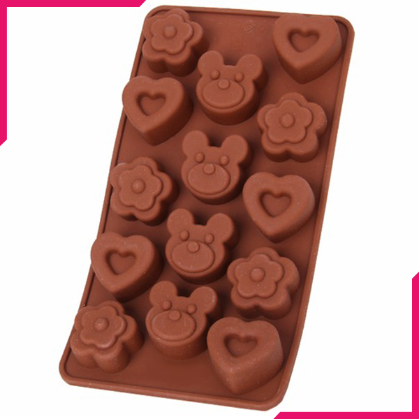 Heart Bear Flower Silicone Chocolate Mold - bakeware bake house kitchenware bakers supplies baking
