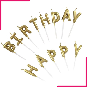 Happy Birthday Metallic Letter Candle Cake Topper - bakeware bake house kitchenware bakers supplies baking