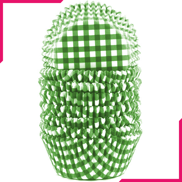 Checkered Pattern Cupcake Liners 100pcs - Green - bakeware bake house kitchenware bakers supplies baking