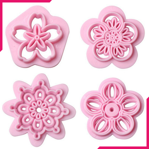 Flower Fondant Stamp 4pcs - bakeware bake house kitchenware bakers supplies baking