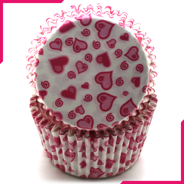 Pink Hearts Cupcake Liners 100Pcs - bakeware bake house kitchenware bakers supplies baking