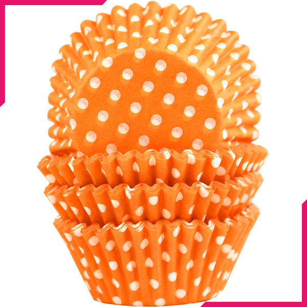 Orange Dot Cupcake Liners 100pcs - bakeware bake house kitchenware bakers supplies baking