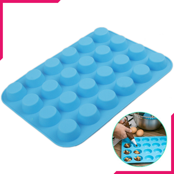 Mini Muffin Silicone Tray 24 Cavity - bakeware bake house kitchenware bakers supplies baking