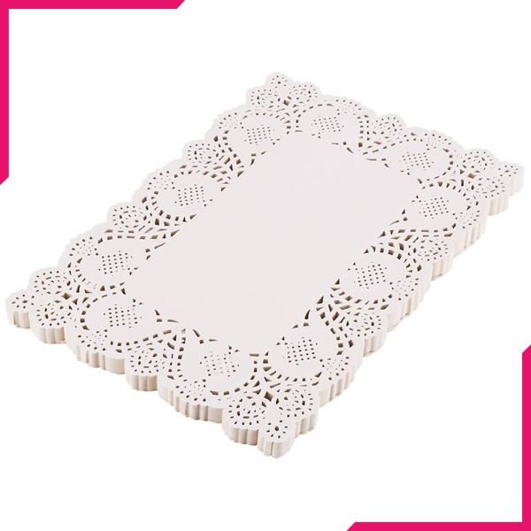 Rectangle Lace Paper Doilies 50Pcs - bakeware bake house kitchenware bakers supplies baking