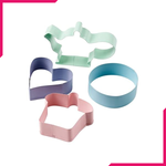Cupcakes/Pastels 4 Piece Coloured Metal Cookie Cutter Set - bakeware bake house kitchenware bakers supplies baking