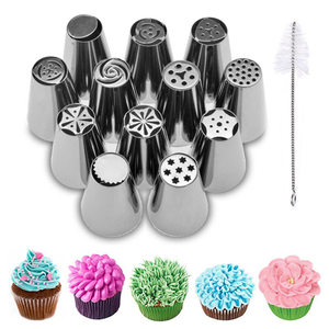12 Pcs Many Sizes Russian Icing Nozzles Tips for Cake Decorating - bakeware bake house kitchenware bakers supplies baking