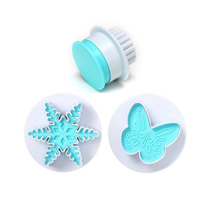 2pcs Snowflake Butterfly Cake Decorating Plunger Cutter - bakeware bake house kitchenware bakers supplies baking