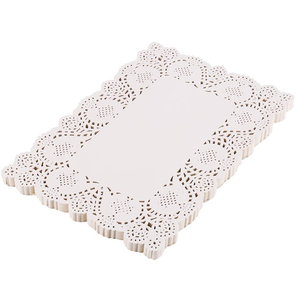50 Pieces White Rectangle Lace Paper Doilies Placemats for Wedding Tea Party and Baking - bakeware bake house kitchenware bakers supplies baking