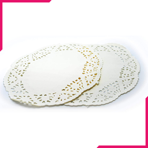Oval Paper Doilies Wedding Decoration White Lace Pastry Mat 50Pcs - bakeware bake house kitchenware bakers supplies baking