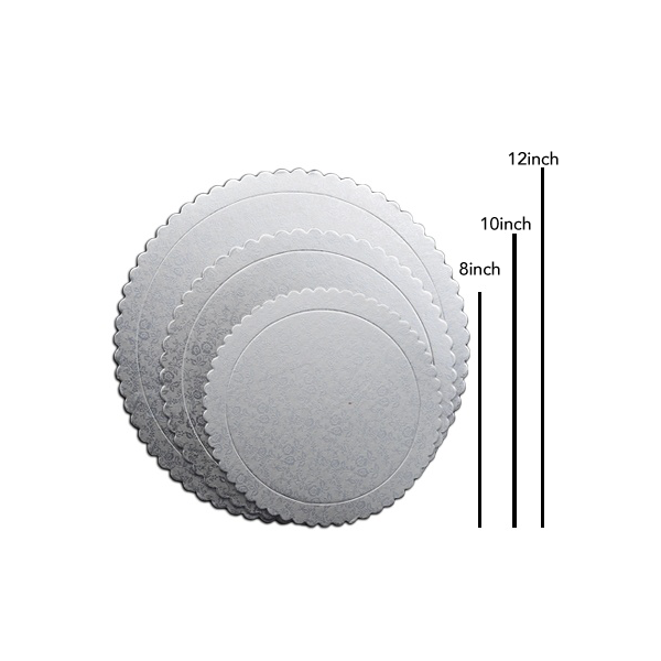 Round Cake Board Silver 3Pcs Set - bakeware bake house kitchenware bakers supplies baking