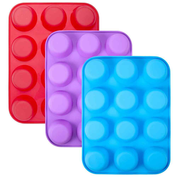 12 Cups Silicone Baking Molds - bakeware bake house kitchenware bakers supplies baking