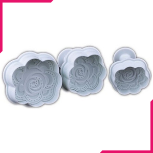 Pressed Rose Plunger Cutter 3 pieces Set