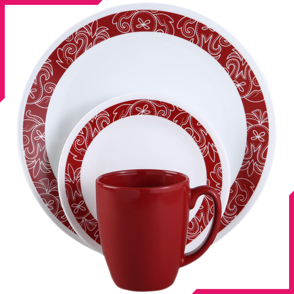 Corelle Livingware Series 16 Pc Set Bandhani - bakeware bake house kitchenware bakers supplies baking