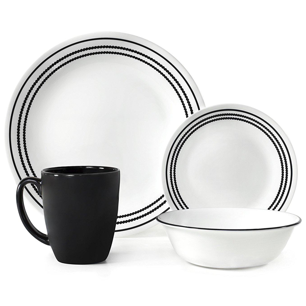 Corelle Livingware Series 16 Pcs Set Onyx Black - bakeware bake house kitchenware bakers supplies baking