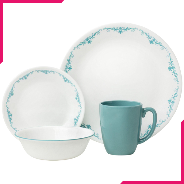 Corelle Livingware Series 16 Pc Set Garden Lace - bakeware bake house kitchenware bakers supplies baking