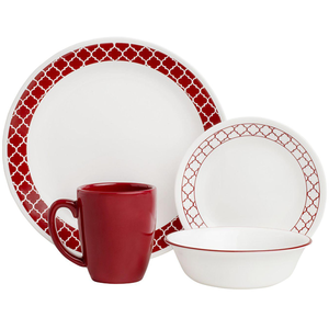 Corelle Livingware Series 16 Pc Set Crimson Trellies - bakeware bake house kitchenware bakers supplies baking