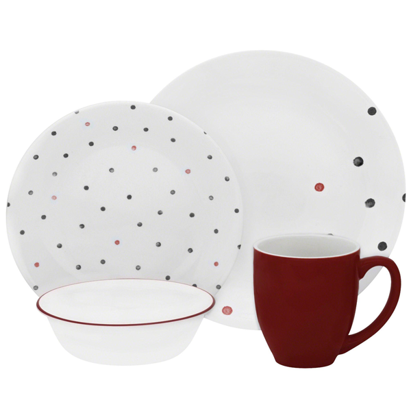 Corelle 16Pc Set Polka Dottie -Vive - bakeware bake house kitchenware bakers supplies baking