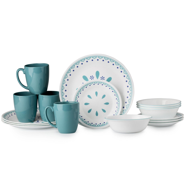 Corelle Livingware Series 16 Pc Set Santorini - bakeware bake house kitchenware bakers supplies baking