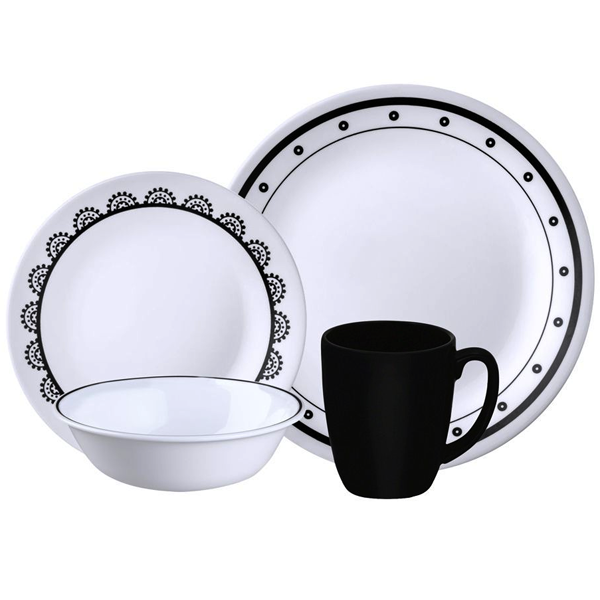 Corelle Livingware Series 16 Pcs Set Black & White mix & match - bakeware bake house kitchenware bakers supplies baking