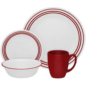 Corelle Livingware Series 16 Pc Set Ruby Red - bakeware bake house kitchenware bakers supplies baking