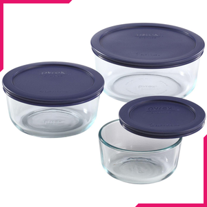 Pyrex Round Glass Food Storage Container 6Pcs Set - bakeware bake house kitchenware bakers supplies baking