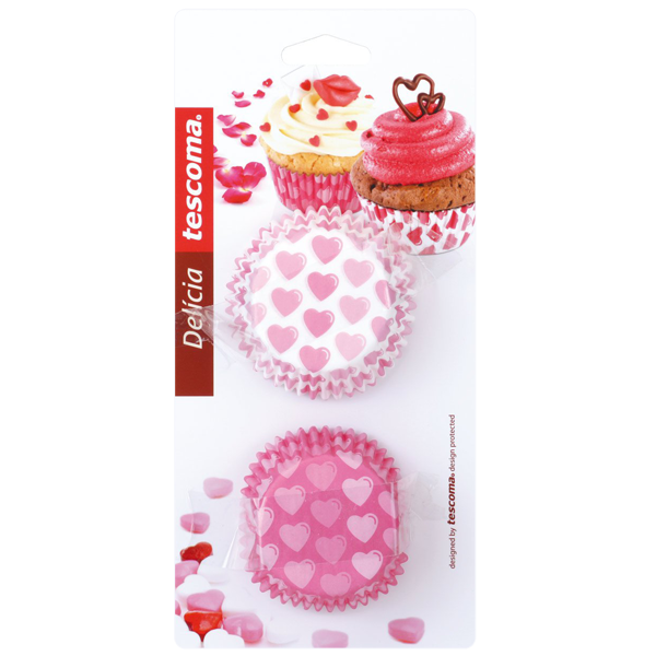 Tescoma Delicia Mini Cupcake Liner Hearts - bakeware bake house kitchenware bakers supplies baking